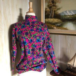Vintage Bold Floral Turtleneck Shirt